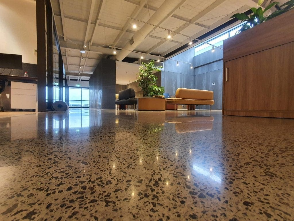 commercial exposed aggregate polished concrete floor